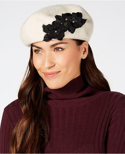 August Hats Wool Floral-Appliqué Beret