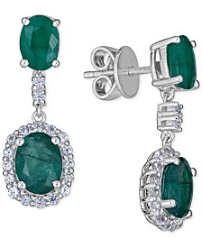 Emerald (5 ct. t.w.) and White sapphire  (3 ct. t.w.) Drop Earring in Sterling Silver ((Also Available in Ruby or Tanzanite)