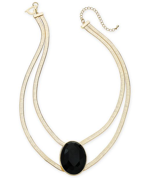 """Thalia Sodi Gold-Tone Large Stone Double Strand Statement Necklace, 16"""" + 3"""" extender, Created for Macy's"""