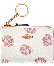 COACH Rose-Print Mini ID Skinny Wallet