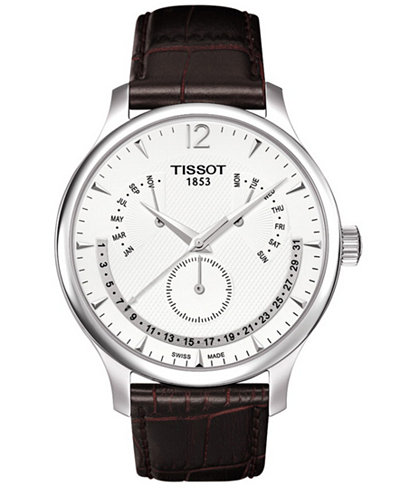 Tissot Men's Swiss Tradition Perpetual Calendar Brown Leather Strap Watch 42mm T0636371603700