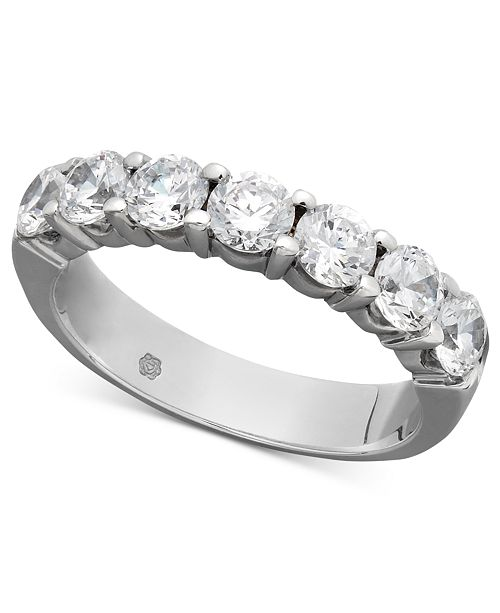 Macy's Certified Seven Diamond Station Band Ring in 14k White Gold (1-1/2 ct. t.w.)