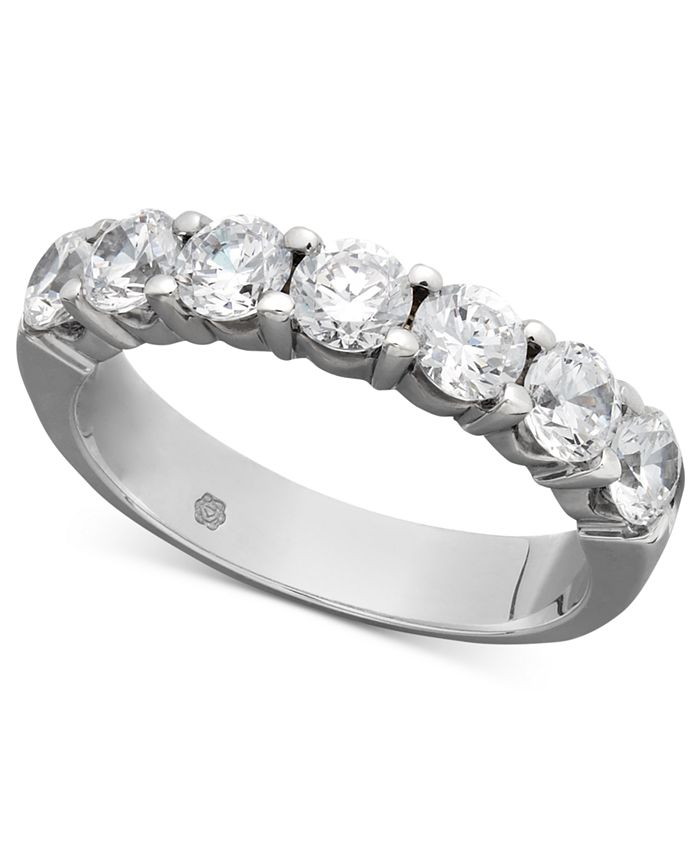 Macy's - Certified Seven Diamond Station Band Ring in 14k White Gold (1-1/2 ct. t.w.)