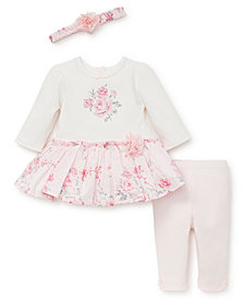 Little Me Baby Girls Rose Dot Dress Legging Set with Headband