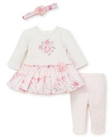 Little Me Baby Girls Rose Dot Dress Legging Set with Headband