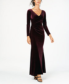 Vince Camuto Long-Sleeve Draped Velvet Gown