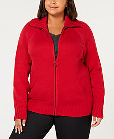 Karen Scott Plus Size Wing-Collar Zip Cardigan, Created for Macy's