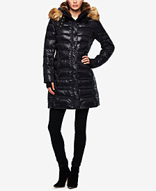 S13 Uptown Faux-Fur-Trim Hooded Down Puffer