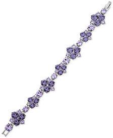 Givenchy Silver-Tone Crystal Cluster Flex Link Bracelet
