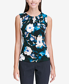 Calvin Klein Petite Printed Pleat-Neck Shell