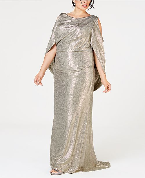 Betsy & Adam Plus Size Metallic Cold-Shoulder Cape Gown ...