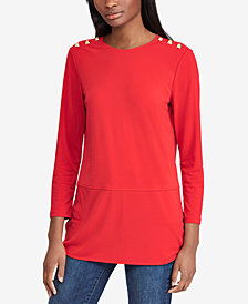 Lauren Ralph Lauren Button-Trip Top