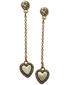 GUESS Two-Tone Crystal Heart Chain Drop Earrings