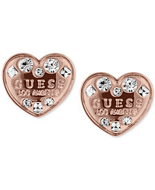 GUESS Crystal Logo Heart Stud Earrings
