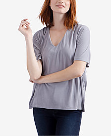Lucky Brand V-Neck Pleated Top