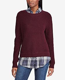 Lauren Ralph Lauren Layered-Look Plaid-Contrast Sweater