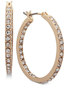 "Nine West Crystal In & Out 1"" Hoop Earrings"