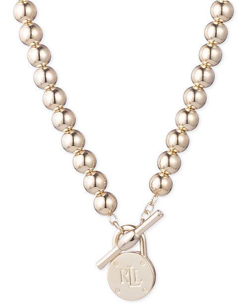"""Lauren Ralph Lauren Gold-Tone Logo Beaded 17"""" Collar Necklace"""