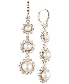 Marchesa Gold-Tone Imitation Pearl & Crystal Triple Drop Earrings