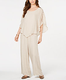 JM Collection Gauze Cape Top & Wide-Leg Pants, Created for Macy's