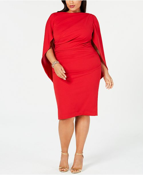 Plus Size Ruched Cape Dress