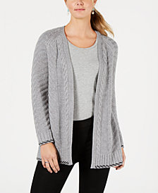 Style & Co Back-Braid Open-Front Cardigan, Created for Macy's