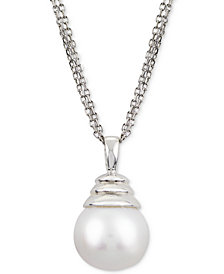 """Windsor Cultured Freshwater Pearl (12mm) 18"""" Pendant Necklace in Sterling Silver"""