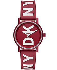 Women's Soho Red Leather Strap Watch 34mm, Created for Macy's