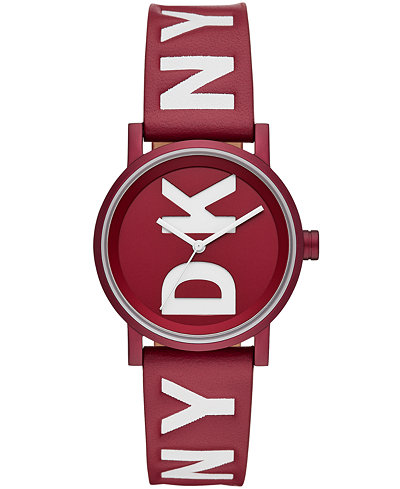 DKNY Women's Soho Red Leather Strap Watch 34mm, Created for Macy's