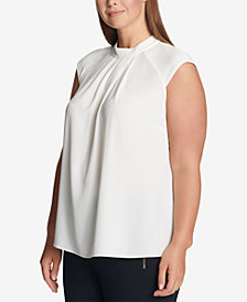 Calvin Klein Plus Size Pleat-Neck Top