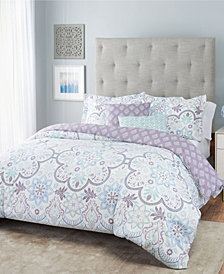 Nicole Miller Blossom Floral Reversible Bedding 5- Piece King Set