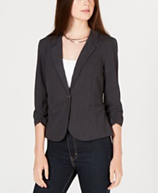 BCX Juniors' Ruched 3/4-Sleeve Blazer