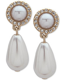 Ivanka Trump Gold-Tone Imitation Pearl & Crystal Drop Earrings