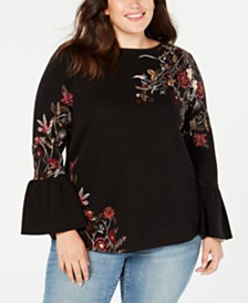 Style & Co Plus Size Cotton Jacquard Bell-Sleeve Sweater, Created for Macy's