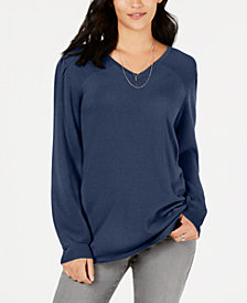 Style & Co Pleated-Sleeve Tunic Sweater, Created for Macy's