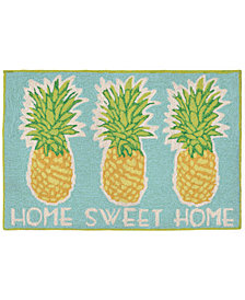 Liora Manne Front Porch Indoor/Outdoor Home Sweet Home Aqua 2' x 3' Area Rug