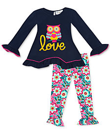 Rare Editions Baby Girls 2-Pc. Owl Top & Leggings Set