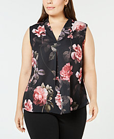 Nine West Plus Size Inverted-Pleat Sleeveless Shell