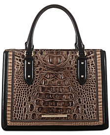 Brahmin Camille Mitford Embossed Leather Satchel
