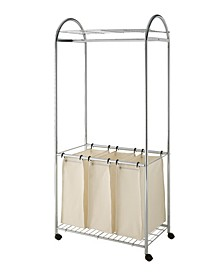 Chrome Laundry Sorter with Canvas Bag