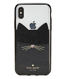 kate spade new york Jeweled Glitter Cat iPhone X Case