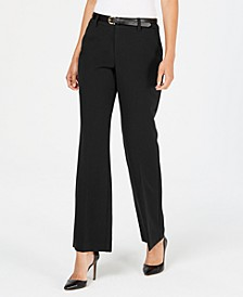 Petite Belted Slim It Up Trousers, Created For Macy's