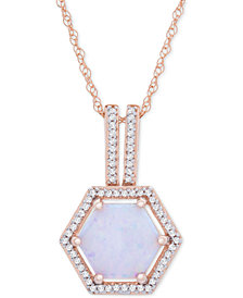 "Opal (1-1/10 ct. t.w.) & Diamond (1/8 ct. t.w.) Geometric Halo 18"" Pendant Necklace in 14k Rose Gold"