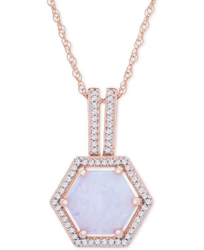 "Macy's Opal (1-1/10 ct. t.w.) & Diamond (1/8 ct. t.w.) Geometric Halo 18"" Pendant Necklace in 14k Rose Gold"