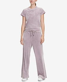 DKNY Sport Velour Logo Cropped T-Shirt