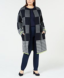 NY Collection Plus Size Plaid Duster Cardigan
