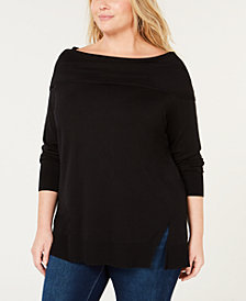 525 America Plus Size Folded-Neck Sweater