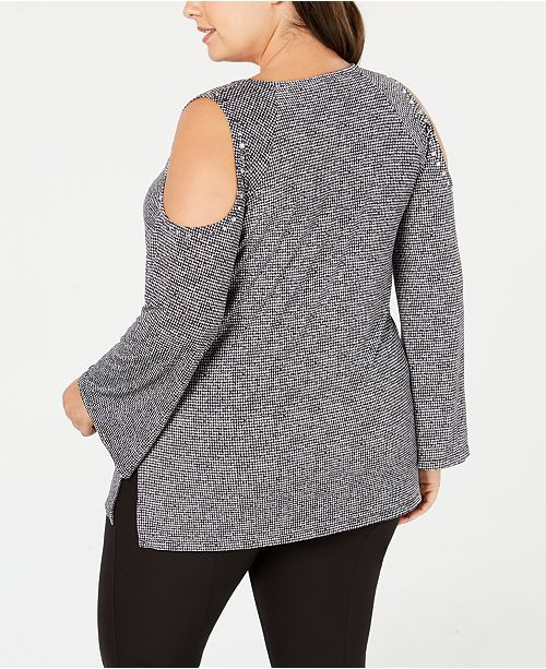 68900bc78bbd62 MICHAEL Michael Kors. Plus Size Printed Cold-Shoulder Top. Be the first to  Write a Review. main image ...