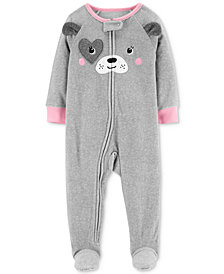 Carter's Baby Girls Dog Face Footed Fleece Pajamas