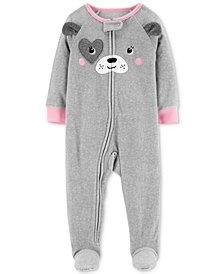 Carter's Baby Girls Dog Face Footed Fleece Pajamas